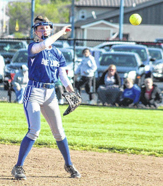Washington's Brooklyn Foose makes the throw to first base during a Frontier Athletic Conference game against Miami Trace at Washington High School Friday, April 30, 2021.
