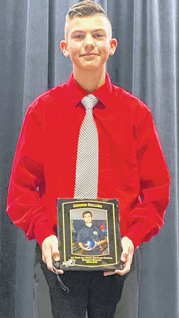 Connor Collins, a junior at Miami Trace High School, was recently inducted into the school's Hall of Fame. On March 6, Collins placed third at the State Division I bowling tournament in a field of 112 of the best bowlers in Ohio. Collins is the son of J.R. and Bobbie Collins.
