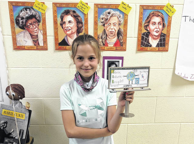 A fifth grade Miami Trace Elementary School student — Emily Parsley — recently won a creative drawing billboard contest hosted by the Ross, Pickaway, Highland and Fayette (RPHF) Solid Waste District for all fifth graders in the four-county district. The winning billboards (one per county) will be displayed during this month in observance of Earth Day which is on April 22. Parsley's billboard is located on US 22 W and east of Old Route 35.