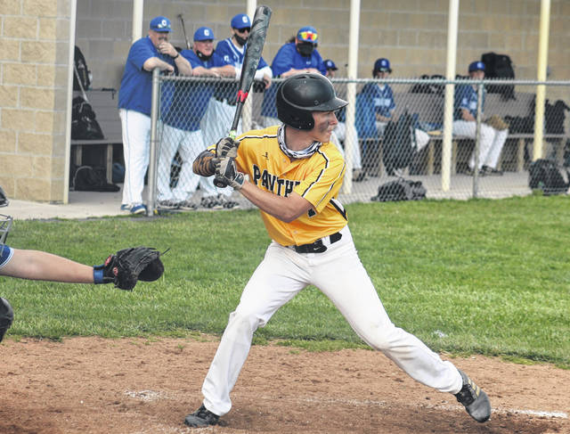 Miami Trace senior Josh Gilmore stands at the plate during a Frontier Athletic Conference game against Chillicothe Friday, April 9, 2021. Gilmore had a hit, two RBI and a scored one run in a 9-3 Panthers' win.