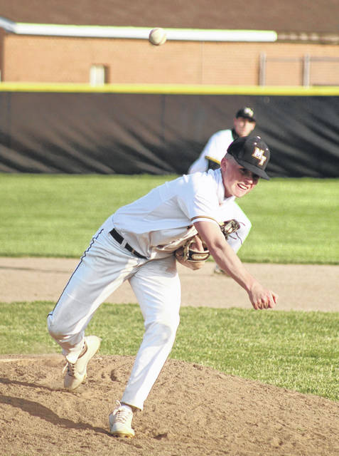 Wes May delivers a pitch for Miami Trace during a non-conference game against Logan Elm Tuesday, April 6, 2021 at Miami Trace High School. May pitched five innings, notching the win.