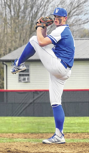 Washington's Tanner Lemaster delivers a pitch during a non-conference game at Piketon Wednesday, March 31, 2021. Lemaster pitched five innings, notching the victory.