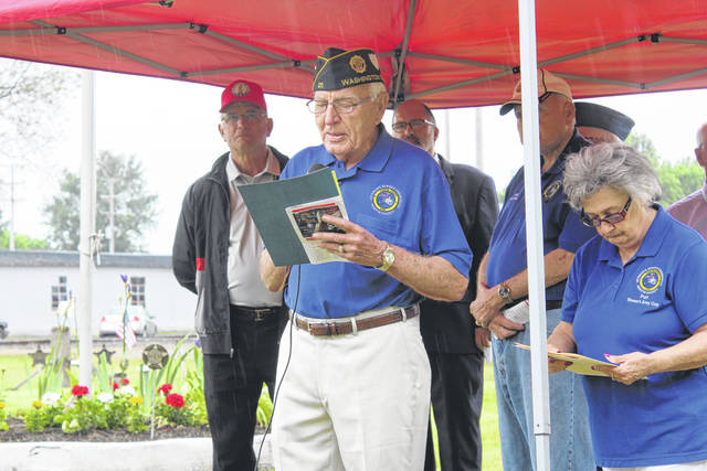 """The Fayette County Veterans Service Commission, along with members of the VFW Post 3762 and the American Legion Post 25, held a Memorial Day service on Friday at the Old Pioneer Cemetery. The main speaker for the event was Edward """"Eddie"""" Fisher, a Fayette County Veterans Service Commissioner and U.S. Coast Guard Veteran during the Korean Conflict."""