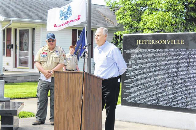 State Representative Mark Johnson (R - Chillicothe) for the 92nd District was the keynote speaker on Monday in the Village of Jeffersonville during their annual Memorial Day service. Many residents and guests gathered at the Jeffersonville Veterans Memorial to honor the armed service men and women who perished in the line of duty.