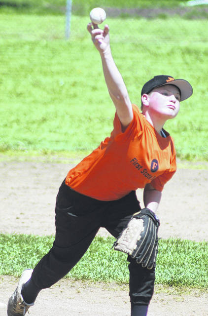 Joe Rheinscheld delivers a pitch for First State Bank during a season-opening game in the Washington C.H. Little League against the Eagles Saturday, May 1, 2021.