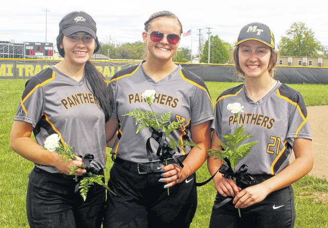 Miami Trace recognized its three seniors prior to the game against Chillicothe Friday, May 7, 2021. (l-r); Piper Grooms, Delaney Eakins and Lahni Stachler.
