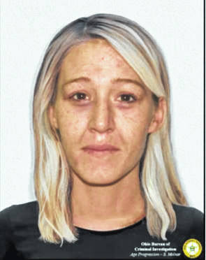 """Provided is an age-progression photograph of missing person Megan Nicole Lancaster from Wheelersburg. Lancaster went missing on April 3 of 2013 at age 25, and her current age is 33. Race/Ethnicity: white, height: 5'6,"""" weight: 115 lbs, hair color: Blonde, eye color: brown."""
