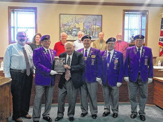 Members of the Military Order of the Purple Heart attended the Washington Court House City Council meeting on Wednesday night.