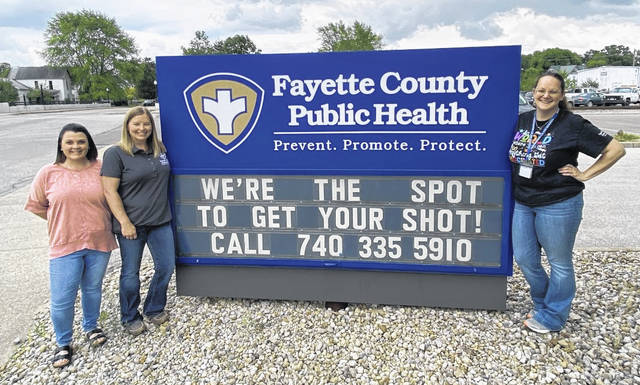 COVID-19 vaccinations can now be scheduled at the health department office at 317 S. Fayette Street. Weekly clinic times are posted on the FCPH website, www.faycohd.org. Pictured (left-to-right) are FCPH nurses Tracy Dye, RN, BSN, Emily Bower, RN, BSN, and Amy Friel., RN.