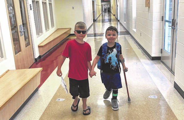 The Miami Trace Summer Learning Academy is underway and is full of learning, friendships and memory making. First graders Jaxson Chaney (left) and Noah Bolen (right) are pictured during a movement break.