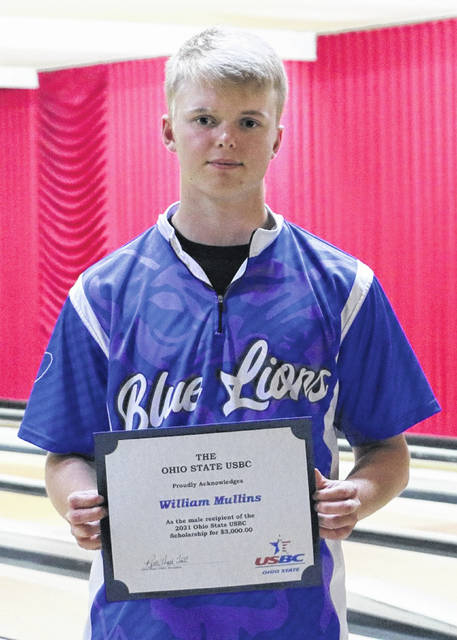 Owen Mullins, a recent graduate of Washington High School, holds the certificate he received from the Ohio State chapter of the United States Bowling Congress. Mullins was the winner of the $3,000 scholarhip awarded each year to one boy and one girl in Ohio.