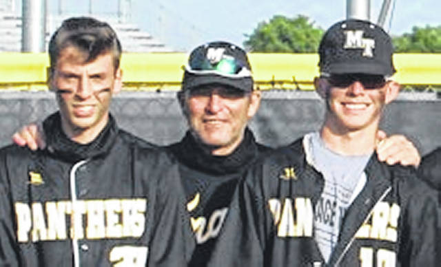 Miami Trace head coach Rob Smith, with Bo Little, left and Wes May, right, was named the Southeast District Coach of the Year for the 2021 season. The Panthers set a new school record in wins and finished 23-2 on the season with an FAC co-championship and a Sectional championship.