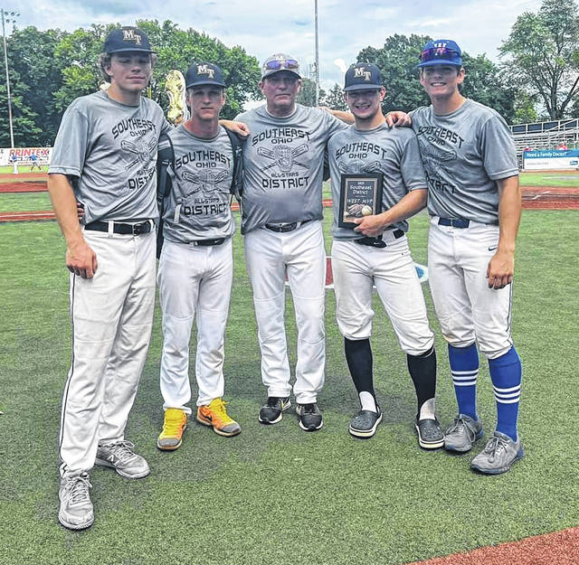 Above is the contingent from Fayette County who took part in the Southeast District All-Star baseball game at the VA Stadium in Chillicothe. (l-r); Braden Osborne, Josh Gilmore, Rob Smith and Conner Bucher of Miami Trace and Titus Lotz of Washington.