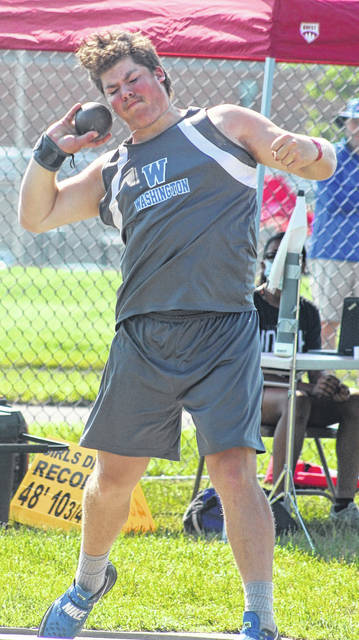 """Washington High School's Sterling Smith competes in the shot put at the Division II State track and field tournament at Pickerington North High School Friday, June 4, 2021. He placed 14th out of 18 contestants with his best throw of 49' 5 1/4""""."""