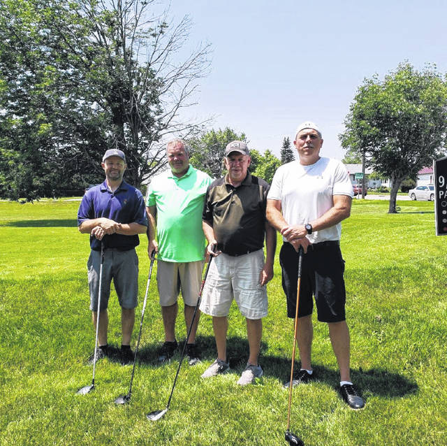 """United Way of Fayette County President Debbie Bryant recently announced the winners of the 2021 Annual United Way Golf Outing held on June 4 at The Greens Golf Club. The winning team — sponsored by Key Realty (Angela Williams-Gebhardt)/American Eagle Mortgage (Christy Gustin) — included members (from left to right) Tom Heath, Tom """"Bub"""" Griffith, Tom Taylor and Tim Williams."""