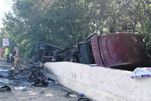 The wreck resulted in all lanes on I-71 southbound, south of US 35 to be closed for a significant amount of time. Although one lane was eventually opened, all lanes had to be closed as the semi wreckage was removed on Monday.