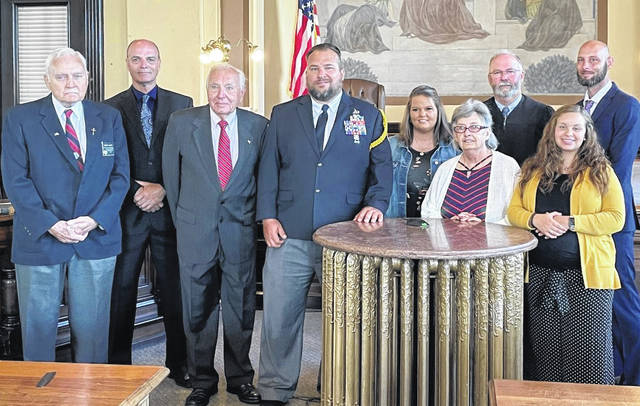 The newest commissioner of the Fayette County Veterans Service Commission, Jerred Mitchell, was sworn in on June 22. Pictured (left-to-right) are members Robert Malone, Russell Bernard, Edward Fisher, Jerred Mitchell, Valorie Morton, Patricia Dewees, Judge Beathard, Tasha Harris – Jackson, William Rheinscheld.