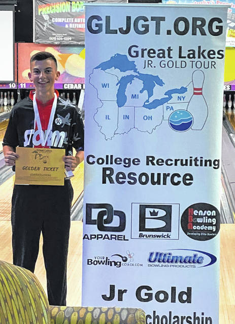 Connor Collins, a senior at Miami Trace High School this upcoming school year, has qualified to a national bowling tournament set for next year in Michigan. He placed second at a qualifying tournament in Sandusky, Ohio, above, on June 20, 2021.