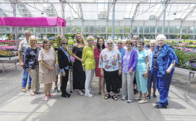 During a recent Fayette Garden Club meeting, the club members met at McClish's Plants Plus Greenhouse. Pictured are (left-to-right, front row) Pam Rhoades, Joanne Montgomery, Jodi Kirkpatrick, Linda Warfield, Mary Jane Esselburne, Mary Estle, Shirley Johnson: (left-to-right, back row) Brett McClish, Barbara Sams, Pat Parsons, Kara Pollichetti, guest-Alexandra Prendergraft, Jean Smith, Debbie Carr and Julia Hidy.