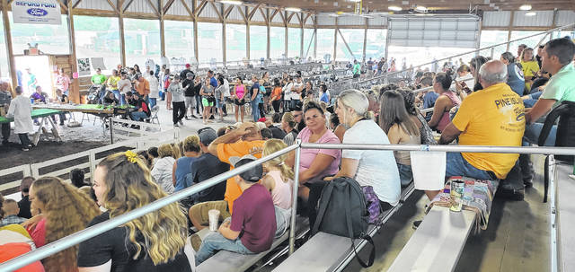 Large crowds filtered in and out of the small animals barn at the Fayette County Fairgrounds on Monday morning.