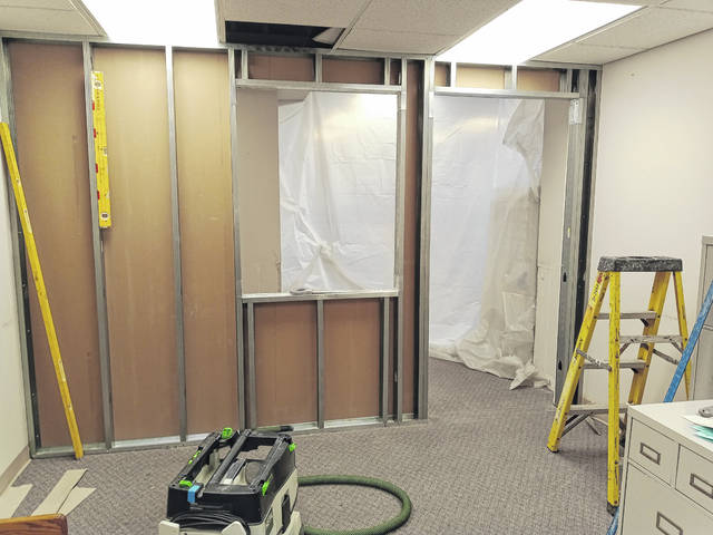 The Fayette County Veterans Commission office was closed for several days this week as construction was being completed on an updated lobby area. The lobby will be sectioned off with a new wall and glass sliding window that should allow more privacy for veterans being assisted in the office.