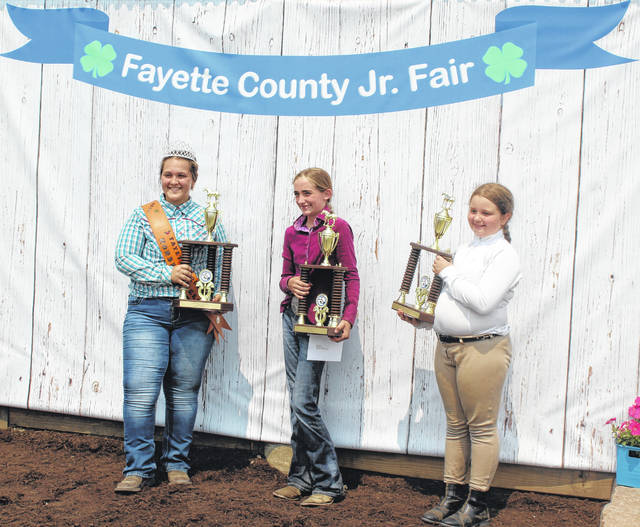 The Fayette County Junior Fair Horse Show was held on Tuesday and the Hi-Point winners were announced following the show. Pictured (L to R): Lorelei King Senior Hi-Point winner, Taylor Payton Junior Hi-Point winner and Taylor Matthews Walk-Trot Hi-Point winner.