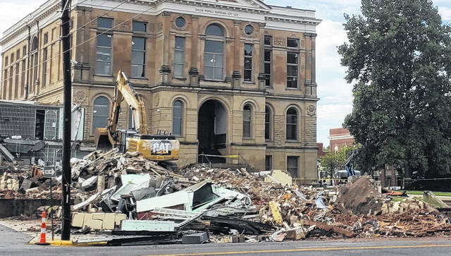 Only a small area of the former Fayette County Jail remained to be demolished on Monday. Depending on weather, clean-up of the site should be wrapping up by the end of the week.