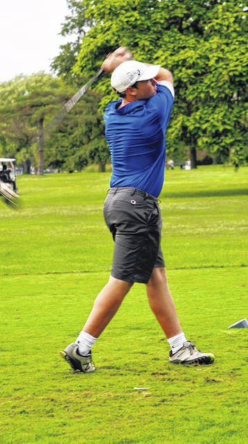 Washington's Drew Ferguson tees off at The Greens during a Frontier Athletic Conference match Monday, Aug. 30, 2021.