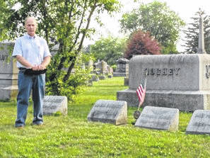 Paul LaRue presented at Washington Cemetery for a tour sponsored by the Fayette County Genealogical Society.