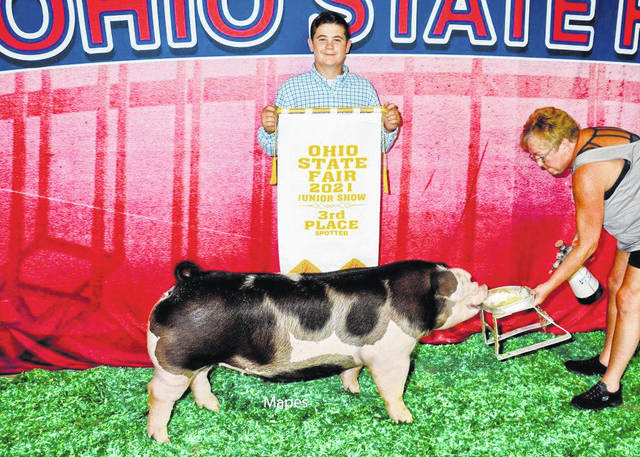 Dane Wilt won the prize for third overall spotted gilt at the Ohio State Fair 2021 Junior Show recently.
