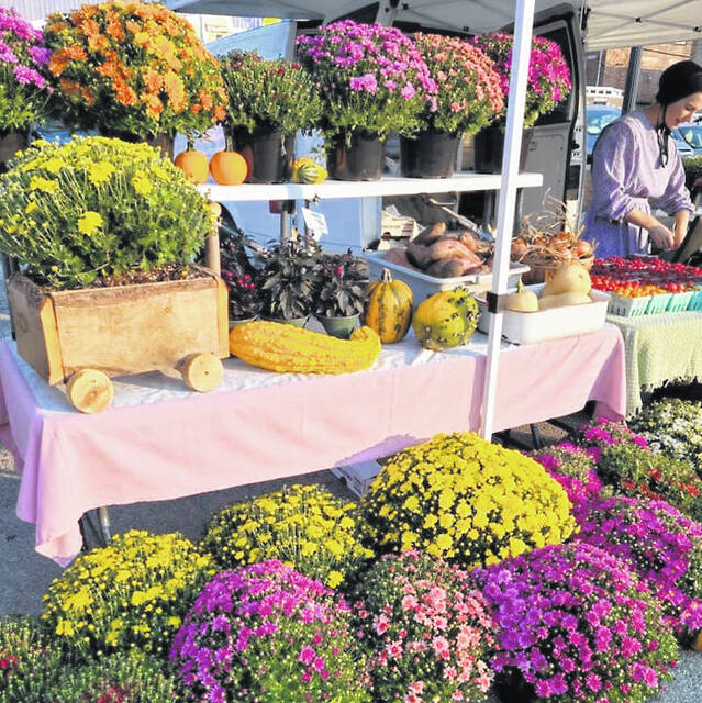 One of the vendors planning to be at the final Wednesday market is Bridgeview Gardens (Hunter and Lorelle Rohrer, 740-505-5125) with potted mums, red raspberries, watermelons, tomatoes, sweet potatoes, red (new) potatoes, squash and zucchini, and peppers.