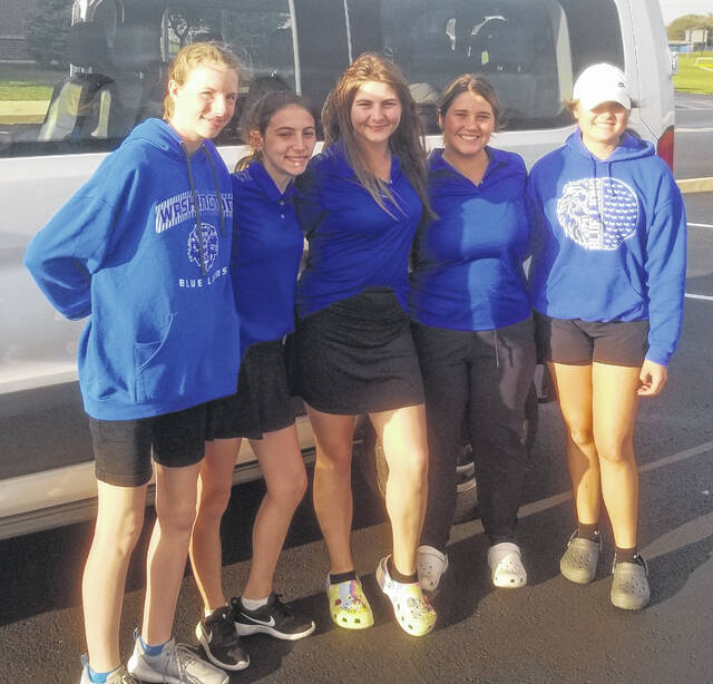 The Washington High School Lady Lion golf team is pictured at the Division II Sectional tournament at the Jaycees course in Chillicothe Monday, Sept. 27, 2021. (l-r); Megan Smith, Kaitlyn Coder, Ciara Coy, Savannah Osborne and Taylor Hixson.