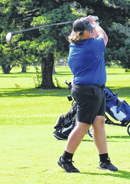 Washington's Luke Crabtree tees off during a non-conference match at The Greens Wednesday, Sept. 1, 2021.