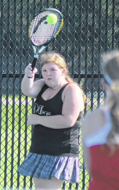 Miami Trace's Emma Seyfang makes the return during a Frontier Athletic Conference first doubles match against Jackson at Miami Trace High School Thursday, Sept. 16, 2021.