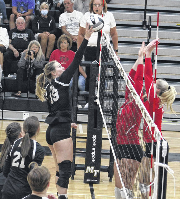 Miami Trace senior Laura Robinson (19) returns the ball over the net during a Frontier Athletic Conference match at home against Jackson Thursday, Sept. 2, 2021. Miami Trace won the varsity match in three sets, 25-11, 25-17 and 25-15. Robinson led the team with 13 kills. Sophia Parsons had eight kills and Addyson Butts had five kills and two ace serves. Miami Trace (1-2 overall) is scheduled to host East Clinton Saturday beginning at 10 a.m.