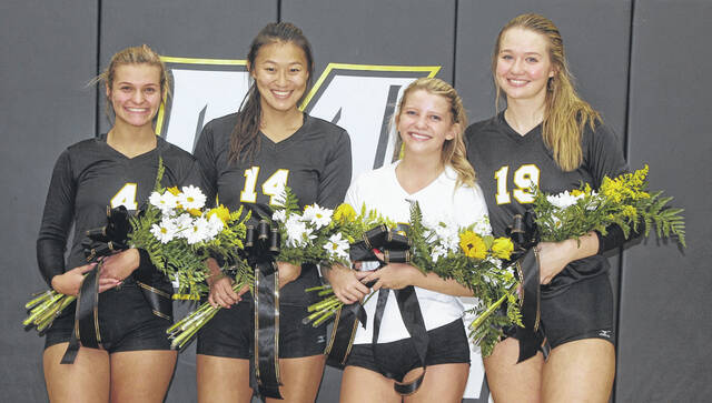 Miami Trace High School's four volleyball seniors were recognized prior to the match against Hillsboro Thursday, Sept. 23, 2021. (l-r); Kennedy Kelley, McKenna Casto, Faith Morrison and Laura Robinson.