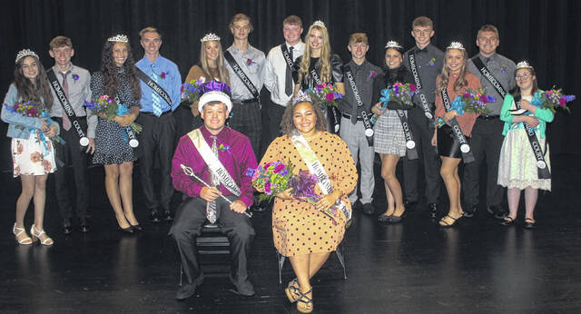 Alexander McCarty and Megan Manns (front) were crowned as the 2021 Miami Trace High School Homecoming King and Queen during an assembly Monday afternoon at the high school auditorium. From left to right, the homecoming court includes: freshmen Zoey Blanton and Brice Perkins, sophomores Amberly Szczerbiak and Jacob Manbevers, juniors Jana Griffith and Chase Morris, and seniors Blayne Ferguson, Hidy Kirkpatrick, Preston Reed, Milana Macioce, Wesley May, Kennedy Worley, Bryce Bennett, and Mary Elrich.