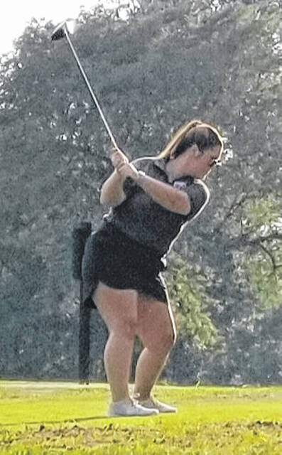 Washington senior Savannah Osborne plays a shot during a non-conference match against Greeneview at Locust Hills Golf Club Tuesday, Sept. 7, 2021. Osborne had the low round earning medalist honors for the day.