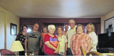 The following attended the Fayette County Genealogical Society August Picnic (left-to-right): Amber White, Chad White, Sandy Gosset, Peggy Lester, Cathy White, Chuck Gosset, Doug White, Sue Gilmore and Myckki Harkleroad. Not pictured but present was William White.