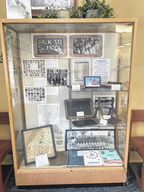 """This September, the Carnegie Public Library has featured a """"Back to School"""" display courtesy of Jeff Garringer from the Fayette County Ohio Historical Society."""