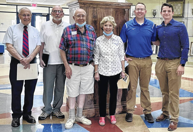 Pictured is the spearhead committee that underwent the work to bring back the three statues that were honored in the re-dedication ceremony as well as 2022 Senior Class President Mac Miller, who spoke during the ceremony on behalf of current students. Pictured (left-to-right) are: Donald Moore (retired WCHCS educator), Larry Milstead (WHS Class of 1958), John Rhoad (WHS Class of 1958), Janet Goff (WHS Class of 1958), Trevor Patton (Director of Washington Alumni Association and WHS Class of 2010), and Mac Miller. Not pictured: Pam Feick (retired WCHCS educator).