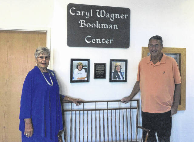 """Patricia Wagner Parsons and Roger """"Bookie"""" Bookman at the newly-named Caryl Wagner Bookman Center."""