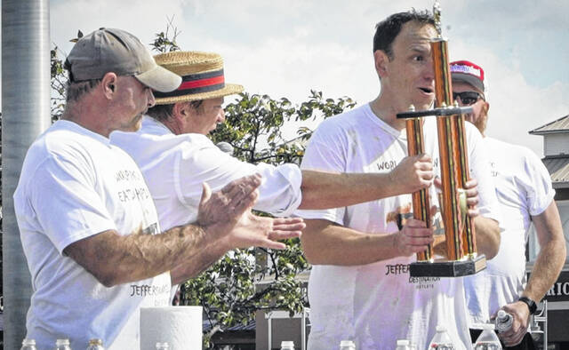 Joey Chestnut, the number one ranked competitive eater in the world, was the winner at Sunday's Destination Outlets World Pumpkin Pie Eating Championship. Chestnut consumed 16 pounds and 12 ounces worth of pie. In all, over 80 pounds of pie were eaten during the competition, which was held in the Destination Outlets parking lot in Jeffersonville. The pumpkin pie event is a new addition to Major League Eating's 2021 slate of sanctioned competitions and will place pumpkin pie back in its rightful place in the spotlight.