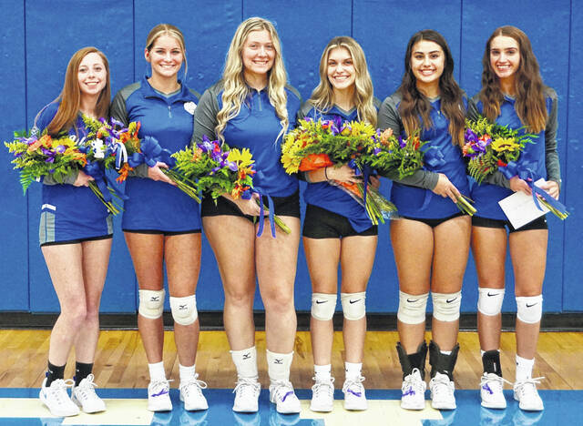 Washington High School volleyball seniors were recognized prior to the match against Waverly Monday, Oct. 11, 2021. (l-r); Katherine Picklesimer, Kassidy Olsson, Haven McGraw, Ellie Lynch, Aaralyne Estep and Olivia Wayne.