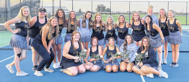2021 FRONTIER ATHLETIC CONFERENCE CHAMPION MIAMI TRACE TENNIS TEAM — The team is outright FAC champions for this season after a 5-0 win over Washington High School. The team finished the FAC at 7-1, good for the outright championship. The team is pictured on Sept. 30. (front, l-r); Macy Mahorney, Emma Seyfang, Kendall Elliott, Riley Cruea, Alex King and Deanna Page; (back, l-r); Audrie Musser, Maddie Frye, Jacinta Pettit-Dinardo, Brooklyn Riggs, Caitlyn Davis, Raelin Pepper, Kiersten Kulin, Abbie Steele, Jenna Goddard, Lucia Wilson, Libby Johnson, Allie Stoughton and Lydia Castle.