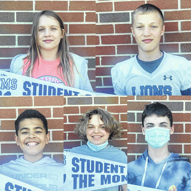 Washington Middle School recently announced its August/September students of the month. Pictured are: (left-to-right, top row) seventh grader Madison Huston, seventh grader Wes Gibbs: (left-to-right, bottom row) sixth grader Liam Alsop, sixth grader Marley Routte and sixth grader Lincoln Rhoades.