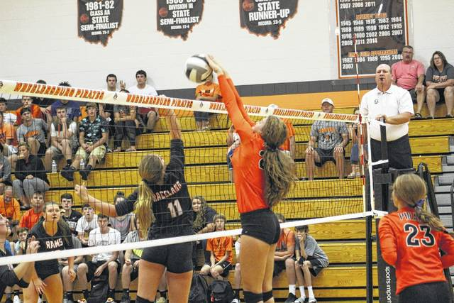 Wheelersburg sophomore Mallory Bergan attacks the net for the Pirates.
