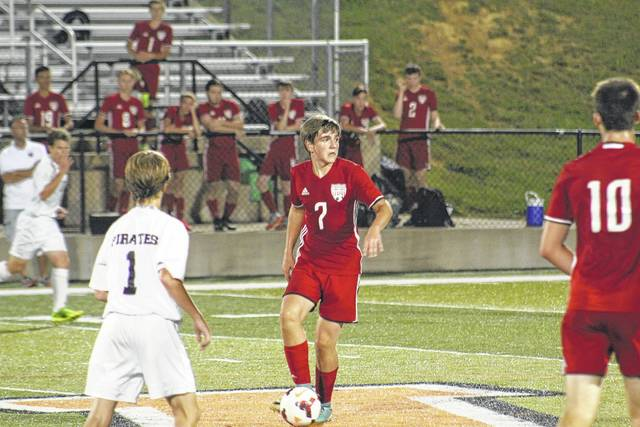 Minford's Adam Cordle (7) surveys the field in Tuesday night's game against Wheelersburg.
