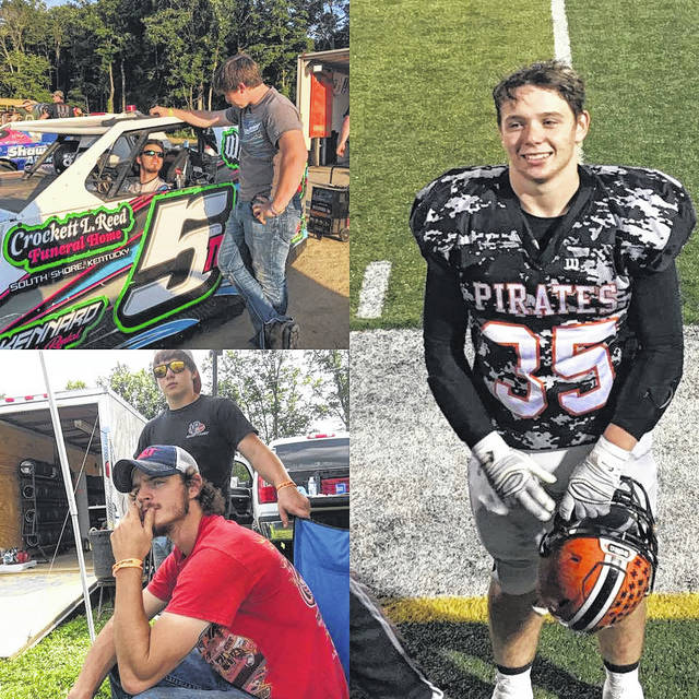 Above left: Jeremy Cooper (outside car) talking to Justin Cooper (inside car). Bottom left: Jeremy Cooper (standing) and Justin Cooper (sitting). Right: Jeremy Cooper stands as he is introduced at Ed Miller Stadium.