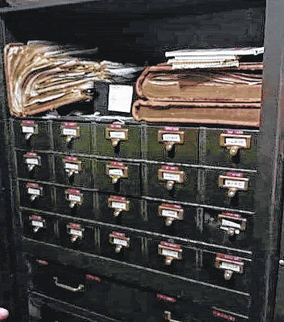 The present card catalog system that still being used in Greenlawn Cemetery.